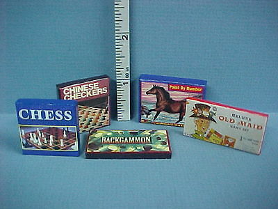 Dollhouse Miniature Game Boxes 5 diff Non Opening