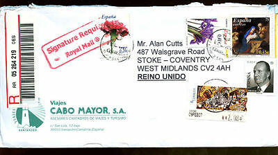 Spain 2007 Registered Airmail Cover To UK #C1238