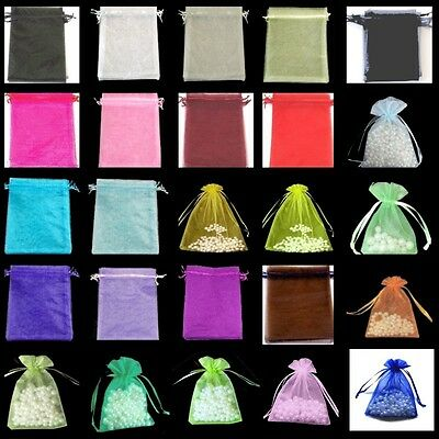 10 / 50 / 100 pcs 5x7cm Organza Gift Bags / Jewellery Pouches - Various Colours