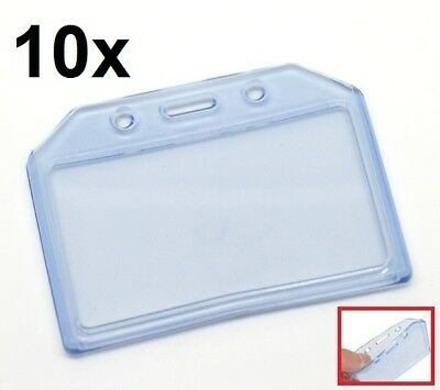 10x DURABLE Clear Blue Soft Plastic Horizontal ID Card Badge Holder Pocket Pouch