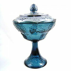 Indiana Glass Blue Carnival Harvest Compote with Lid