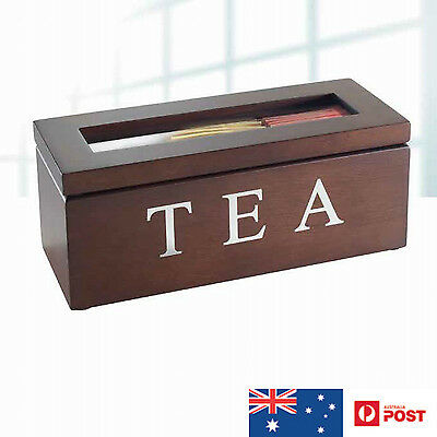 Wooden Tea Storage Box with 3 Compartments Brown NEW IN BOX