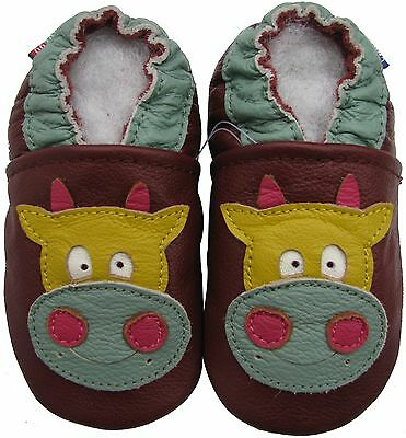 carozoo cow brown 2-3y C1 soft sole leather toddler shoes slippers