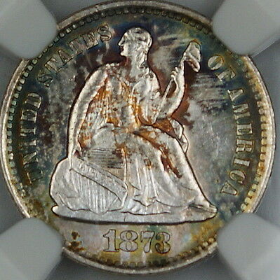 1873-S Seated Liberty Silver Half Dime, NGC MS-63, *Toned Gem BU Coin* DGH