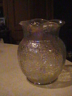 By Cracky Crackle Iridescent Clear Vase 8""