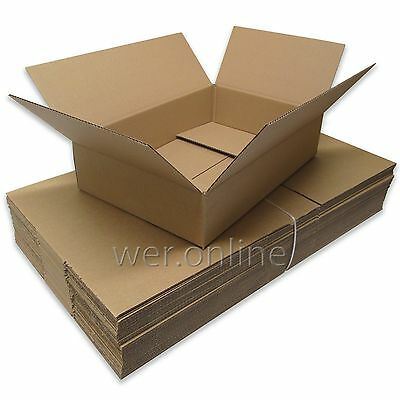 "100 x Long Shallow Postal Packing Storage Cardboard Boxes 18x12x4"" SW"