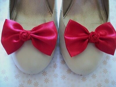 PAIR RED SATIN BOW RIBBON ROSE SHOE CLIPS 40s 50s VINTAGE STYLE VAMP GLAM BOWS