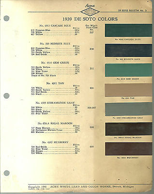 1939 DeSOTO Color Chip Paint Sample Brochure / Chart: ACME, De Soto