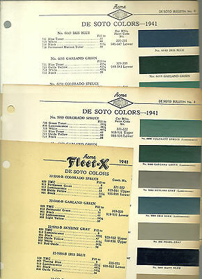 1941 DeSOTO Color Chip Paint Sample Brochure / Chart: ACME, De Soto