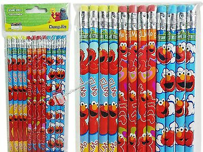 12pc Sesame Street Elmo Wood Pencils Birthday Party Favors Bag Fillers - New