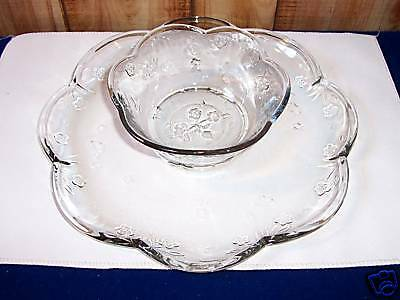 Anchor Hocking Savannah-Clear Toscany Collection 2 pc Chip & Dip Service Set MIB