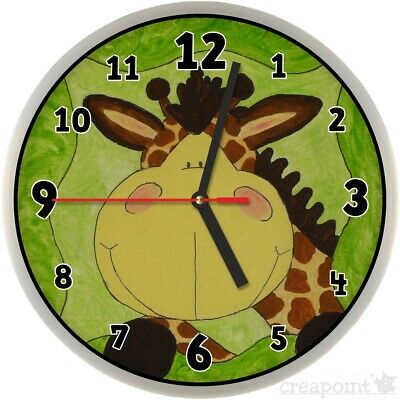 255 wanduhr f r kinder giraffe. Black Bedroom Furniture Sets. Home Design Ideas