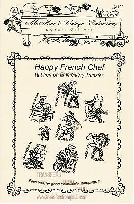 French Chef Tea Towel DOW Embroidery HOT IRON Transfer pattern