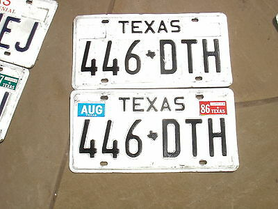 1982 Texas License Plates 446 Dth