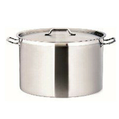 New Commercial 58L Stainless Steel 50Cm Stock Pot Chef Quality Wide Saucepan