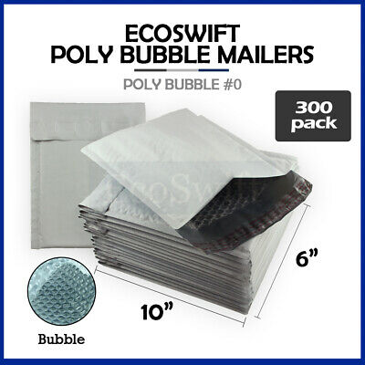 "300 #0 6x10 Poly Bubble Mailers Padded Envelope Shipping Supply Bags 6"" x 10"""