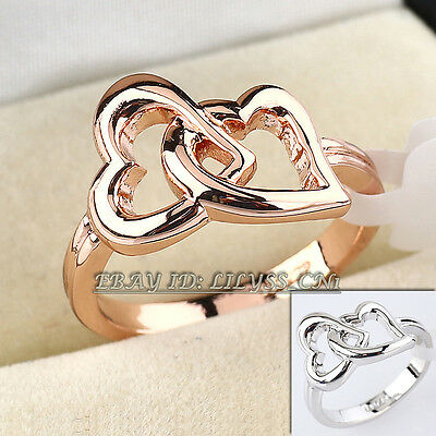 Fashion 18KGP Double Hearts Ring Size 5.5-10 No Stone
