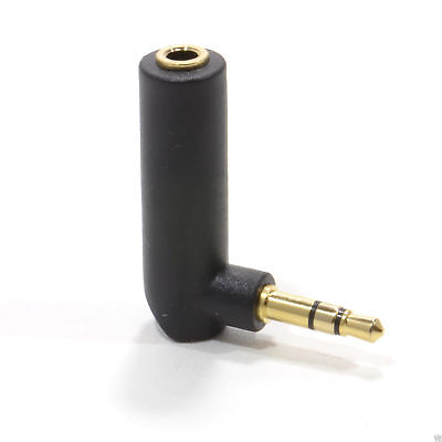 3.5mm Stereo Jack Socket to 3.5mm Stereo Male Right Angle Plug Gold [006215]
