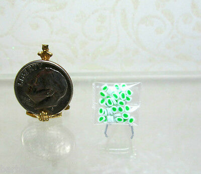 Dollhouse Miniature Small Bag of Handcrafted Green Mints Candy by Lola Originals