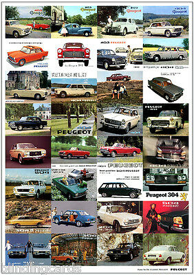CLASSIC PEUGEOT - RETRO ART PRINT - 203 204 304 403 404 504 - Old adverts poster