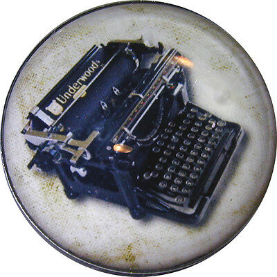 "1"" Crystal Low Dome Button Steampunk Typewriter OBJ 11 FREE US SHIPPING"
