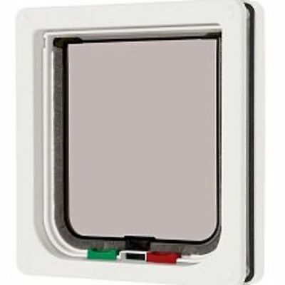 Pet Mate White Cat Flap Secure Locking Exit System 221W Small Dog Kitten Puppy