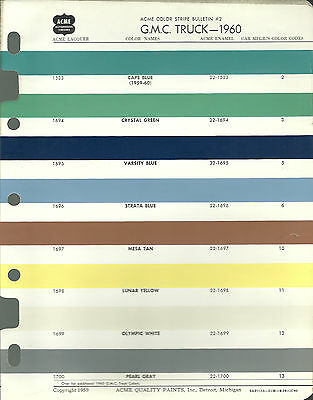 1960 GMC TRUCK Color Chip Paint Sample Brochure / Chart: Acme
