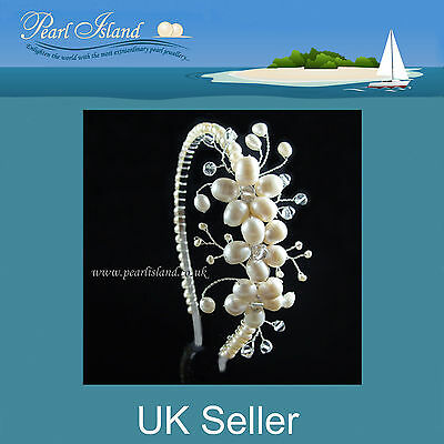 Wedding Freshwater Pearl Tiaras - Bridal Side Tiara by Pearl Island