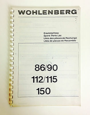 WOHLENBERG Spare Parts List Book 86/90/112/115/150, Programmatic