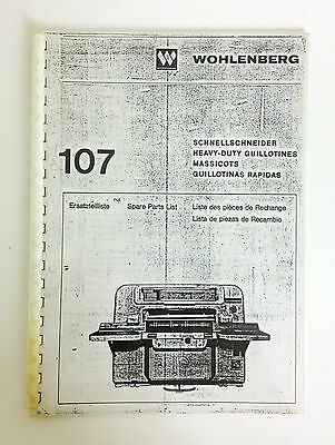 WOHLENBERG Spare Parts List Book 107 in English, German, French and Spanish