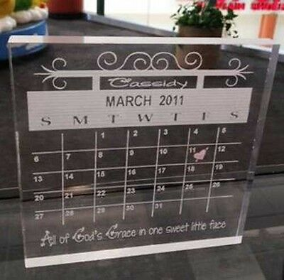 Personalized Customized Laser Engraved Baby Birthday Calendar Gift