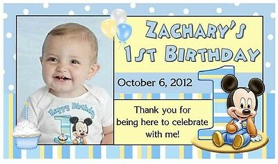12 BABY MICKEY MOUSE 1ST BIRTHDAY PARTY FAVORS PHOTO MAGNETS