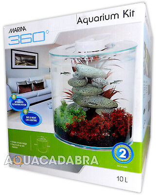 Hagen Marina 360 Aquarium Kit Fish Tank 2.65 Gallons 10 Litres + Led Lighting