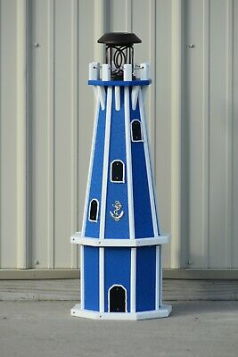 """32"""" Octagon, Solar Powered Poly Lighthouse, Blue with White Trim"""
