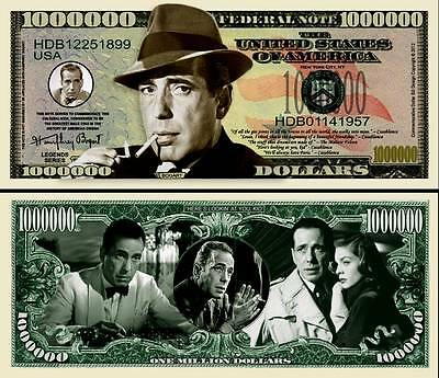 OUR IN MEMORY OF HUMPHREY BOGART DOLLAR BILL (2/$1.00)