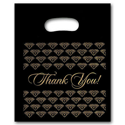 NEW 50/PLASTIC BLACK  jewelry Thank You gift Bag (Sm.)