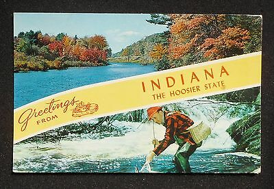 1961 Greetings from the Hoosier State Indiana IN Postcard