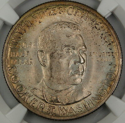1946 Booker T Washington Silver Half Dollar, NGC MS-65 *Toned* w/ envelope RS