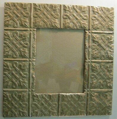 Antique TIN CEILING Metal Picture Frame 11x14 Shabby Recycled #939-12