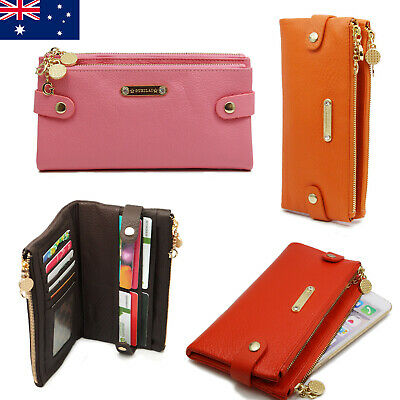 Soft Double Zip Ladies Womens Genuine Leather Wallet Phone Holder Purse
