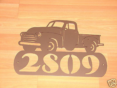 Vintage Pick Up ADDRESS PLAQUE Sign Home Decor Wall Ford Chevrolet Dodge Truck