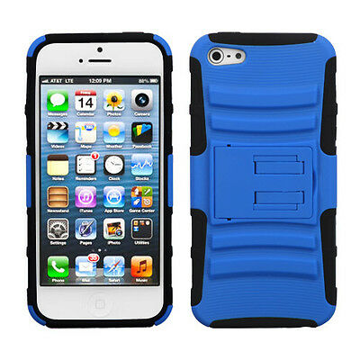 Blue & Black Armor Stand Hybrid Case for Apple iPhone 5 5S SE Hard Rubber Cover