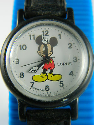 Disney   Small Face Ladies Or Girls Mickey Mouse  Watch /Black Leather Band