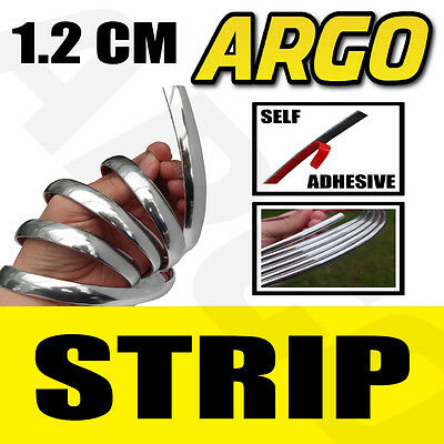 1.2Cm Chrome Detail Styling Strip Trim +2 Self Adhesive Moulding Edge 12Mm