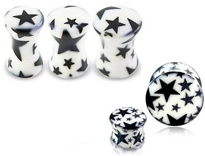 New Quality Stars Ear Plug Ear Tunnel White Black 4mm 5mm 6mm UK Seller