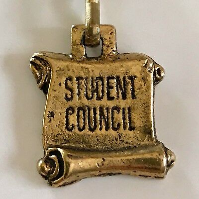 """STUDENT COUNCIL"" Antique Gold Enamel Zipper Pulls/Shoe Charms (25)"