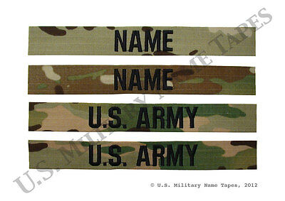 Two U.S. Army ACU MultiCam (OCP) Name Tape Sets without Velcro for Sew-on Only
