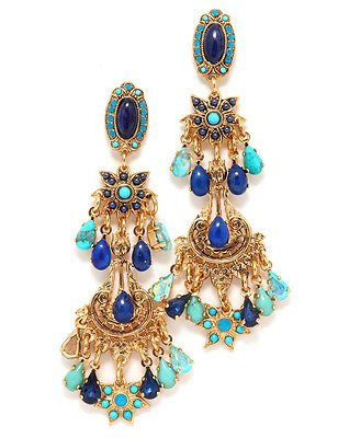 Inspiration Collection by Amaro Gold Plated Earrings w Howlite & Lapis Lazuli