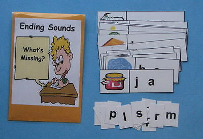 Teacher Made Literacy Center Resource Game Ending Sound Strips