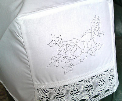 Traced Printed to Embroider pair of chair arm covers flowers white cotton lace